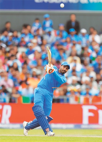 INDIAN all-rounder Ravindra Jadeja hits out during his whirlwind 77.—Reuters