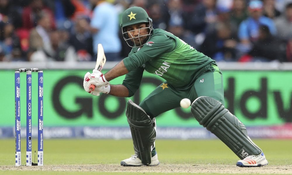Sarfaraz Ahmed bats during the Cricket World Cup match between India and Pakistan at Old Trafford in Manchester, England, on June 16. — AP/File