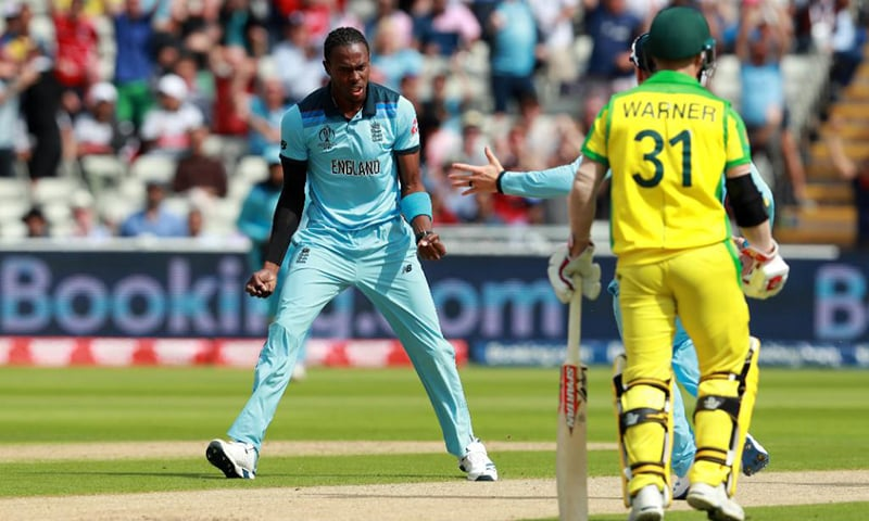 Skipper Aaron Finch was bowled out by Jofra Archer in the second over of play in the semi-final between Australia and England on Thursday. — Photo courtesy Cricket World Cup Twitter