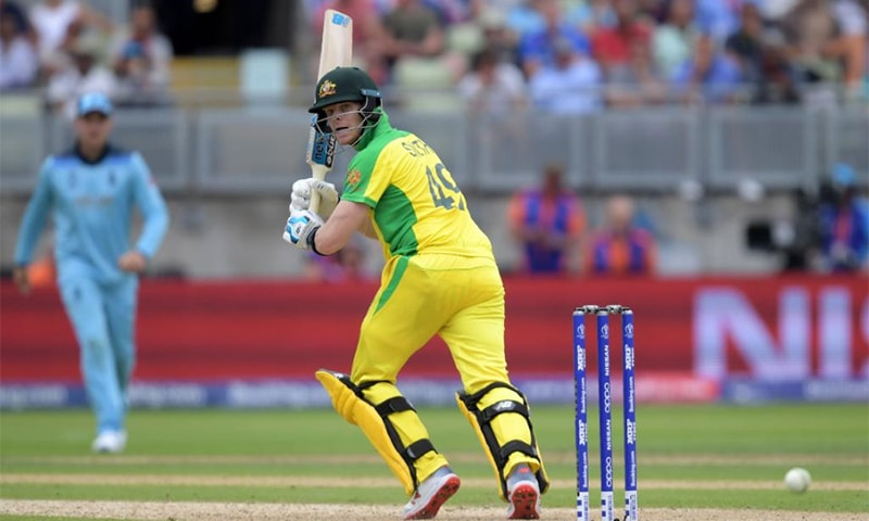 Steve Smith plays a shot during the World Cup semi-final between Australia and England at Edgbaston on June 11. — ICC Twitter account