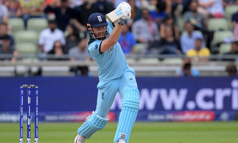 England's Jonny Bairstow plays a shot during the World Cup's second semi-final between England and Australia at Edgbaston on July 11. — AFP