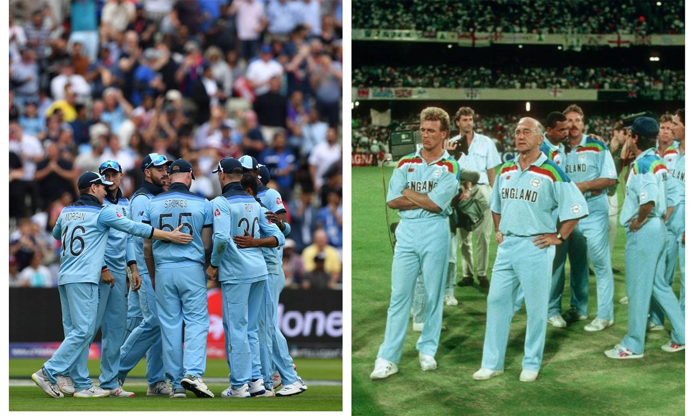 انگلینڈ کی 2019 کی جرسی 1992 کے ورلڈ کپ کی جرسی کو مدنظر رکھ کر بنائی گئی تھی— فوٹو: آئی سی سی / اے ایف پی