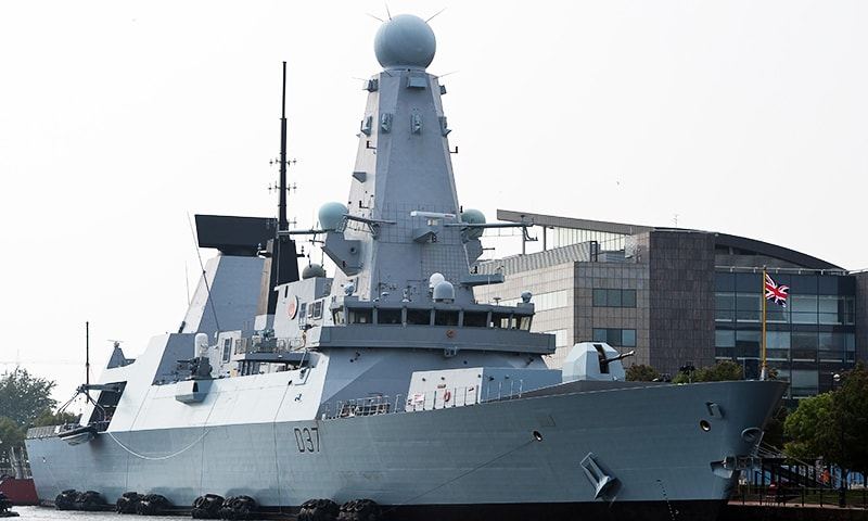 In this file photo, the British naval vessel HMS Duncan is pictured docked in Cardiff Bay in Wales. — AFP
