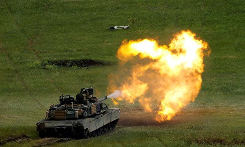 "A US M1A2 ""Abrams"" tank fires during US led joint military exercise ""Noble Partner 2016"" in Vaziani, Georgia, May 24, 2016. — Reuters/File"