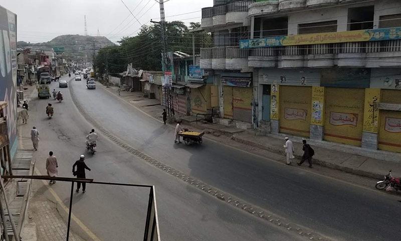 ہڑتال کے باعث چھوٹے بڑے تجارتی مراکز بند رہے—تصویر بشکریہ ٹوئٹر