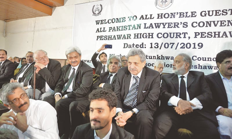 Lawyers at the convention held on the Peshawar High Court premises on Saturday.