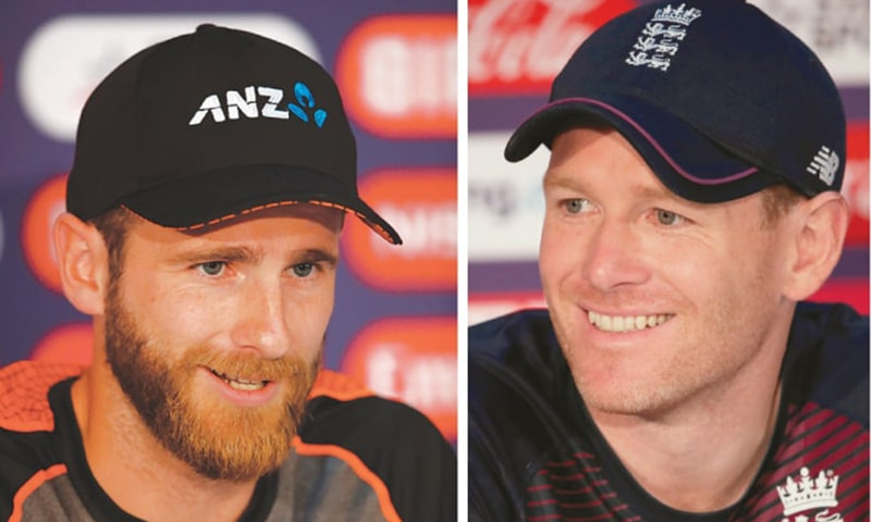 RIVAL captains New Zealand's Kane Williamson (L) and and his England counterpart Eoin Morgan address the media on Saturday. — Reuters