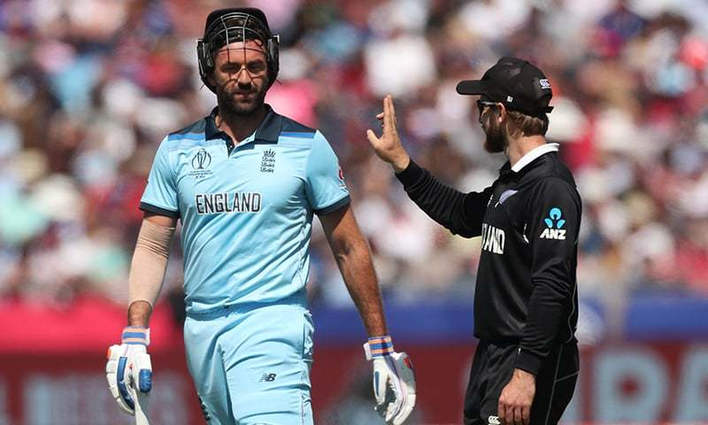 New Zealand's Kane Williamson gestures at England's Liam Plunkett after Adil Rashid is dismissed<br /> during their World Cup clash on July 3. — Reuters/File