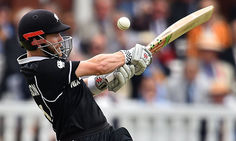 New Zealand captain Kane Williamson plays a shot during the World Cup final between England and New Zealand at Lord's Cricket Ground in London on July 14. — AFP