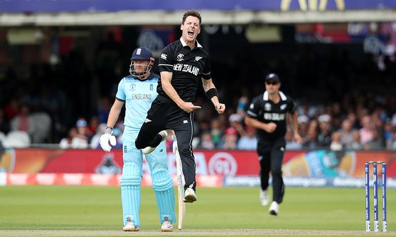 New Zealand's Matt Henry celebrates taking the wicket of England's Jason Roy. — Reuters