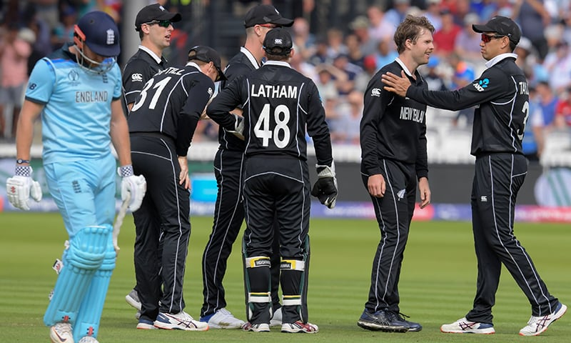 New Zealand's Lockie Ferguson (2R) celebrates with teammates after the dismissal of England's Jonny Bairstow (L) during the World Cup final between England and New Zealand at Lord's Cricket Ground on July 14. — AFP