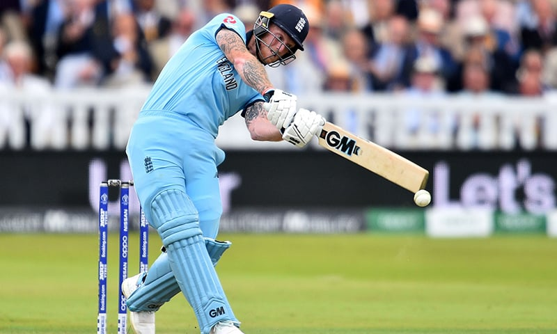 England's Ben Stokes plays a shot during the World Cup final between England and New Zealand at Lord's on July 14. — AFP