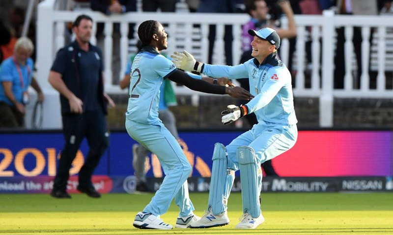 A World Cup final has just been tied off 50 overs, tied off the Super Over, and decided by superior boundary count. — ICC