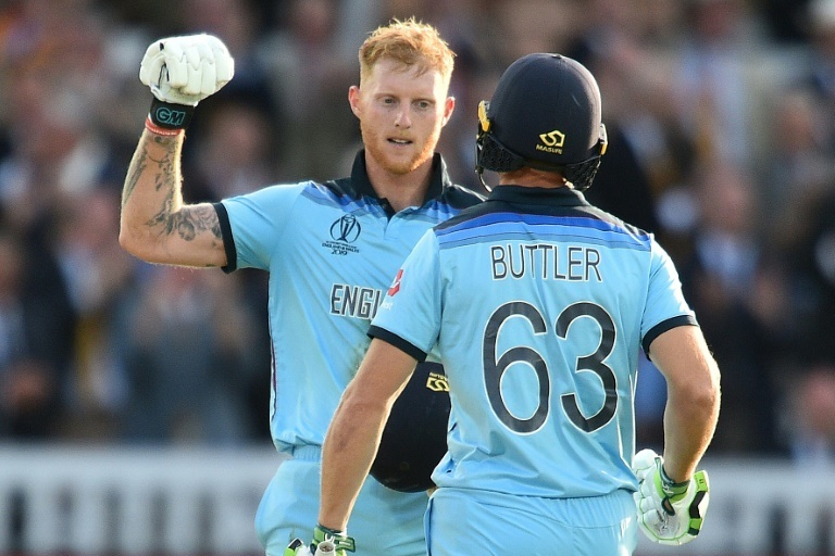 England's Ben Stokes and Jos Buttler were chosen to bat in the World Cup final Super Over. ─ AFP