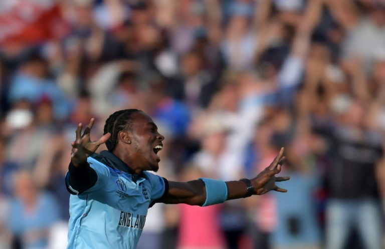 Jofra Archer celebrates England's dramatic World Cup victory against New Zealand. ─ AFP