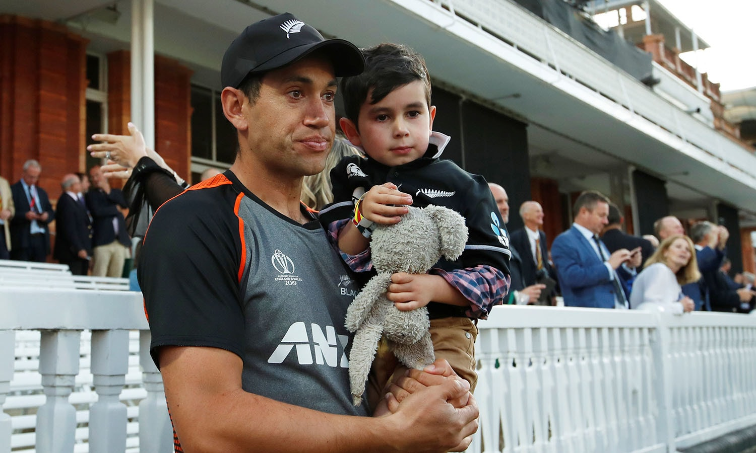 New Zealand's Ross Taylor with his son after the match. — Reuters