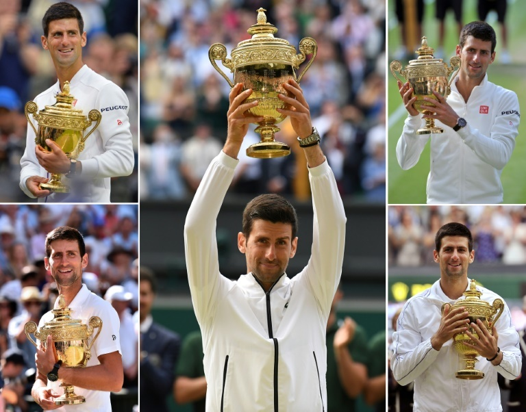 A combination of photographs shows Novak Djokovic holding up the Wimbledon trophy after each of his five men's singles titles. ─ AFP