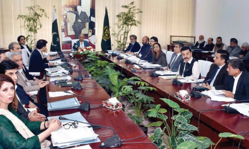 Adviser to the Prime Minister on Finance and Revenue Dr Hafeez Shaikh presides over a meeting of the Executive Committee of the National Economic Council on Monday. — APP
