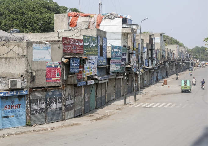 LAHORE: A view of closed shops at Circular Road on Saturday.—White Star