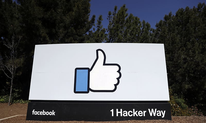 This March 28, 2018 file photo shows a Facebook logo at the company's headquarters in Menlo Park, California. — AP