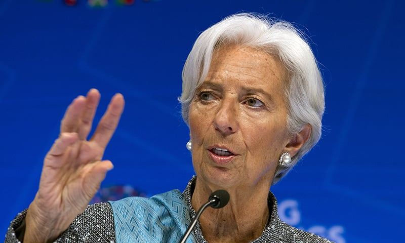 In this April 13, 2019, file photo, International Monetary Fund (IMF) managing director Christine Lagarde speaks during a news conference after the International Monetary and Financial Committee (IMFC) conference at the World Bank/IMF Spring Meetings in Washington. — AP