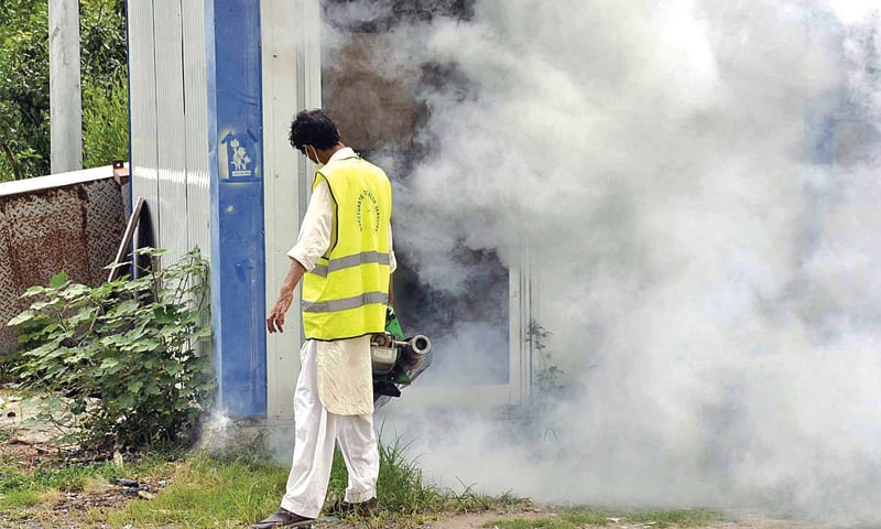 A civic agency worker carries out anti-dengue fumigation in a locality in Islamabad on Tuesday. — APP
