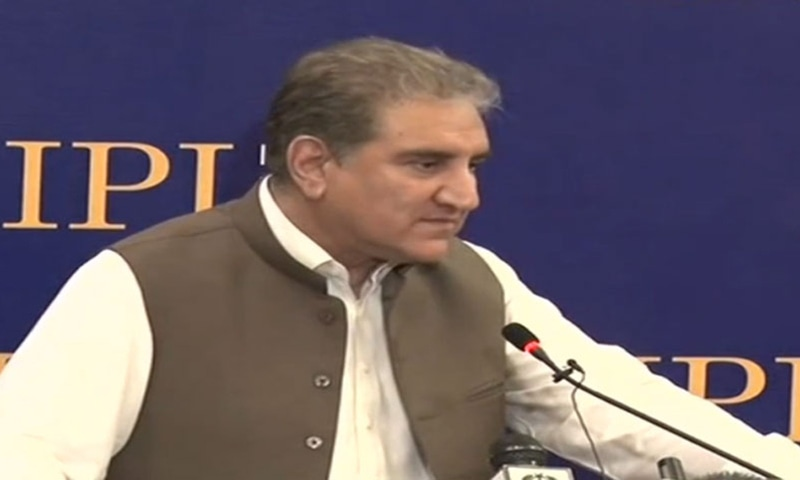 Foreign Minister Shah Mehmood Qureshi addresses a seminar orga­nised by the Islamabad Policy Institute (IPI) on 'Pakistan-US Relations: The Way Forward' on Tuesday. — Photo courtesy Radio Pakistan