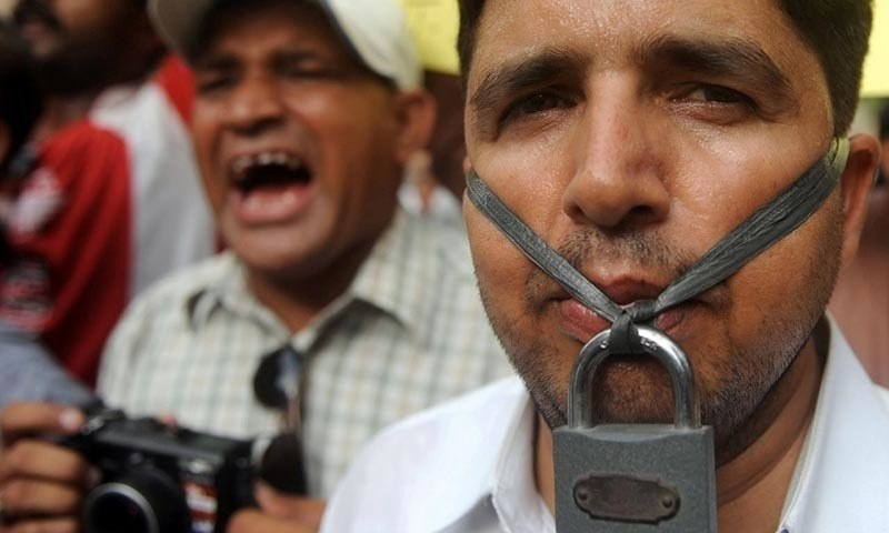Journalists protest against press censorship in this undated file photo. — AFP