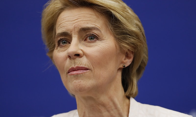 German Ursula von der Leyen listens to a question during a news conference following her election as new European Commission President at the European Parliament in Strasbourg, eastern France on Tuesday. — AP