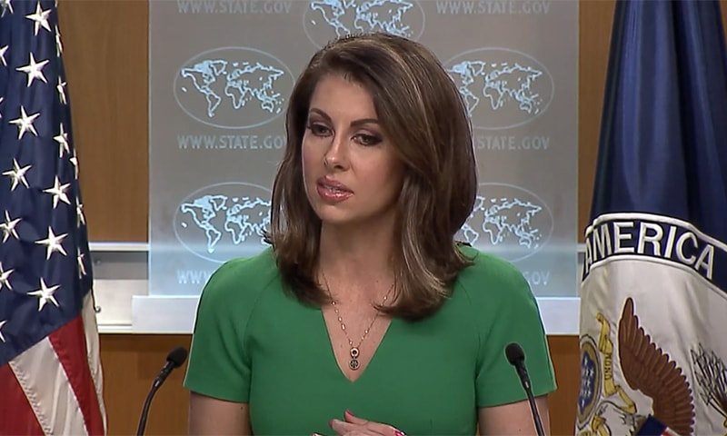 During a press briefing on Tuesday, State Department spokesperson Morgan Ortagus was asked to comment on the Kartarpur Corridor. — Screengrab courtesy US State Department video
