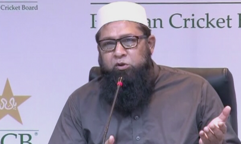 Inzamam-ul-Haq addresses a press conference on Wednesday. — DawnNewsTV