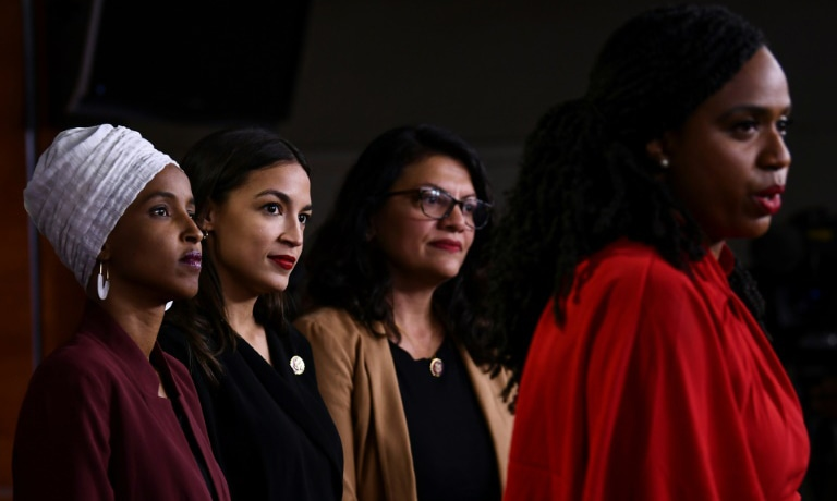 US Representatives Ayanna Pressley (R), Rashida Tlaib (second from R), Alexandria Ocasio-Cortez (third from R) and Ilhan Omar (L). — AFP