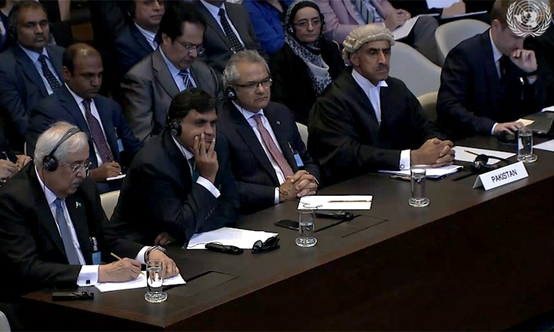 (L-R) Attorney General Anwar Mansoor, diplomat Mohammad Faisal, Ambassador of Pakistan in the Netherlands, Shujjat Ali Rathore, and Barrister Khawar Qureshi listen to the judgment.