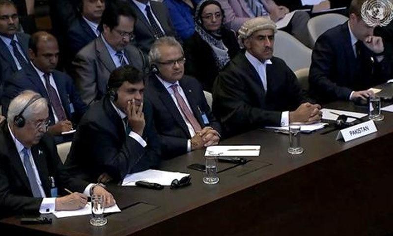 اٹارنی جنرل کی قیادت میں پاکستانی ٹیم فیصلہ سننے عالمی عدالت میں موجود تھے — اسکرین شاٹ
