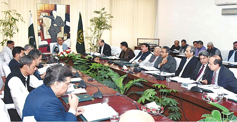 ADVISER to the PM on Finance Dr Hafeez Shaikh chairs a meeting of the Economic Coordination Committee of the cabinet on Wednesday.—PPI
