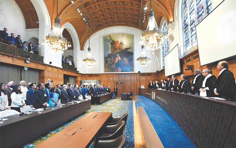 JUDGES are seen at the International Court of Justice before the announcement of verdict in the case of Indian spy Kulbhushan Jadhav on Wednesday.—Reuters