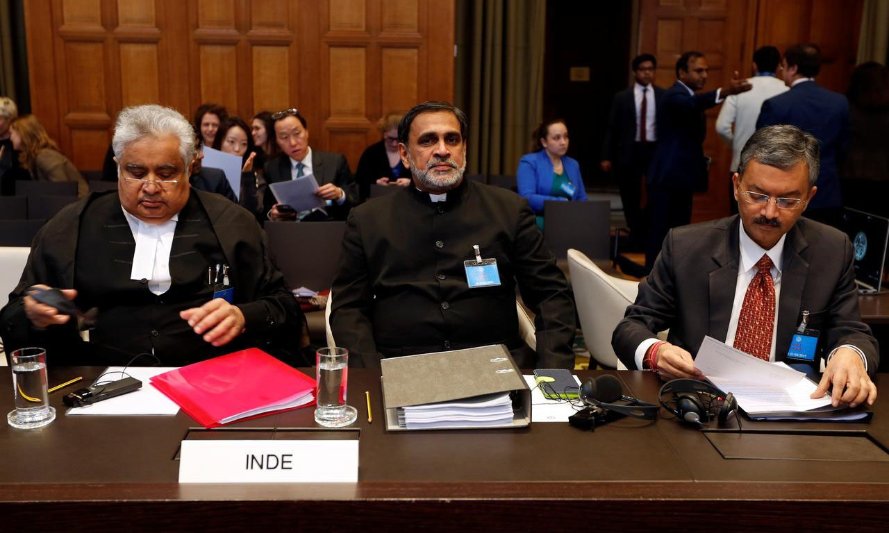 (L-R) Indian lawyer Harish Salve and Dr V.D. Sharma and Deepak Mittal, joint secretaries, Indian Ministry of External Affairs, at ICJ during the final hearing of the Kulbhushan Jadhav case on Wednesday. ─ Reuters