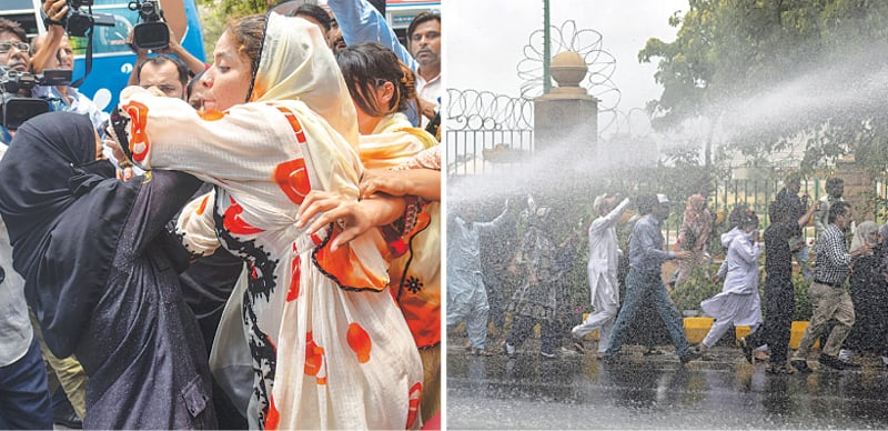 A PROTESTER scuffles with a policewoman and (right) demonstrators are drenched by a water cannon on Thursday.—Fahim Siddiqi / White Star