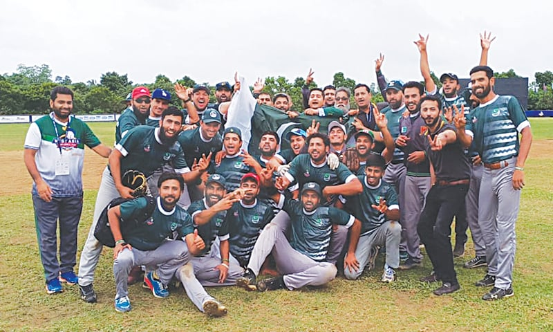 COLOMBO: Members of Pakistan's team celebrate after beating India in the West Asia Baseball Cup semi-final on Thursday.
