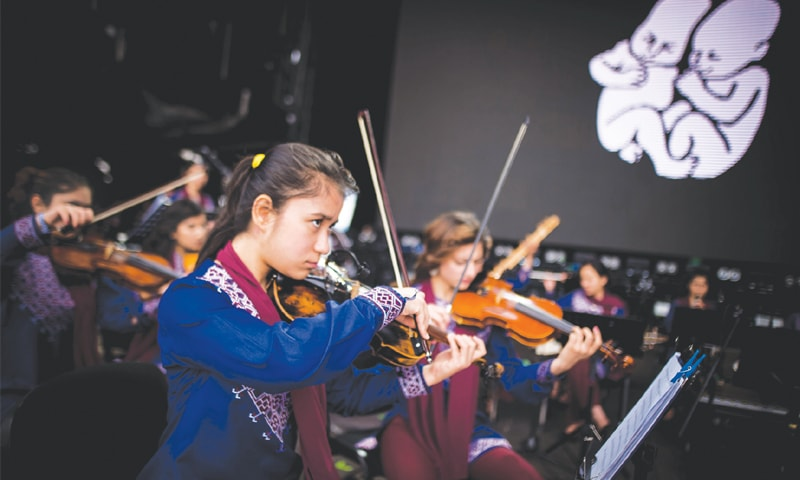 Trencin (Slovakia): Members of Afghanistan's first all-female orchestra in action. — AFP