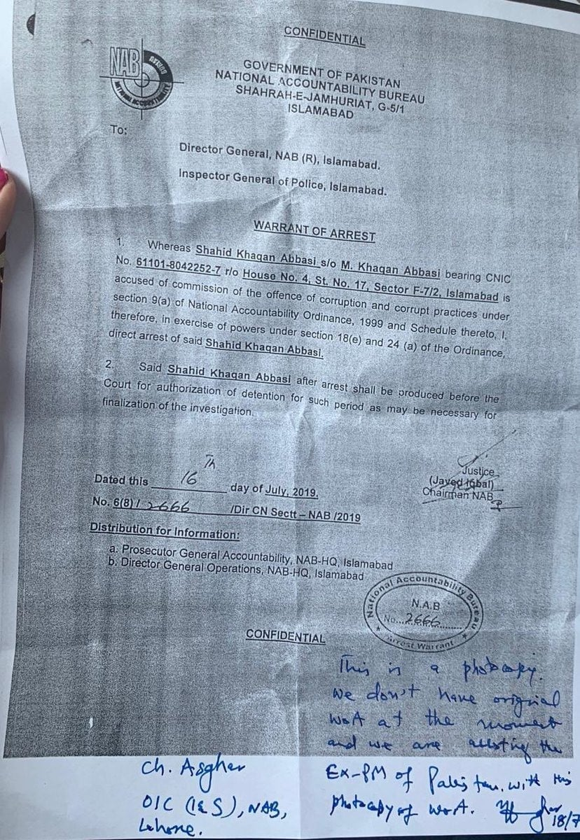 A copy of Abbasi's arrest warrants. — Photo courtesy Maryam Nawaz Twitter