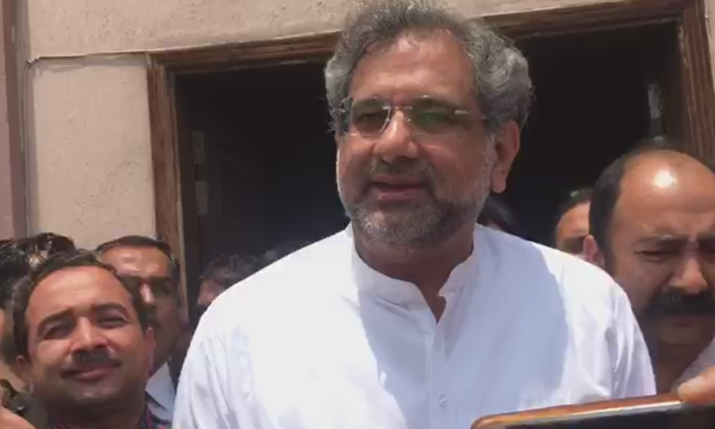 Former prime minister Shahid Khaqan Abbasi at an accountability court in Islamabad on Friday. — DawnNewsTV
