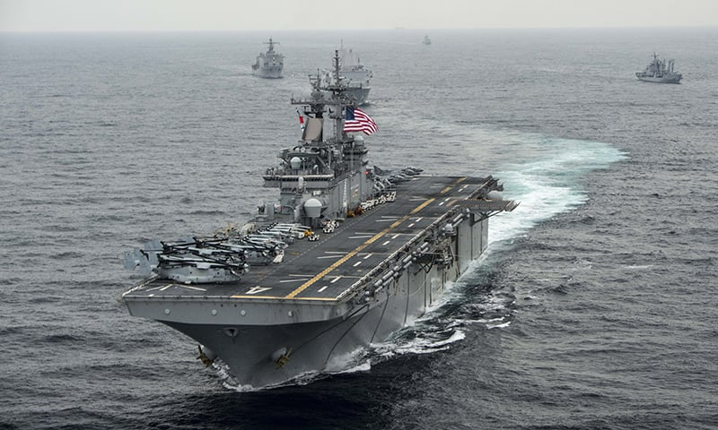This US Navy file photo taken on March 7, 2016  shows the amphibious assault ship USS Boxer (LHD 4) as it transits the East Sea during Exercise Ssang Yong 2016. — AFP