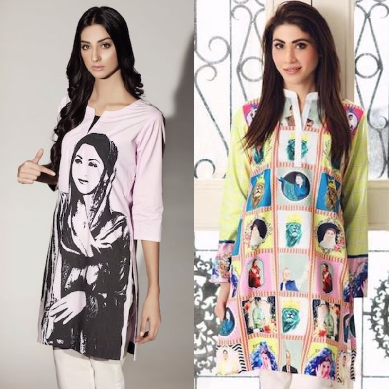 What do you think about the pop art PML-N tunic Hina (left) is wearing?