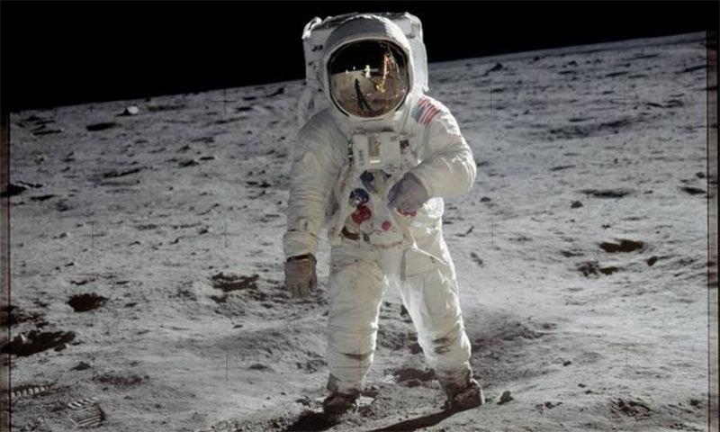 بز الڈرین کی چاند پر چہل قدمی جس کی تصویر نیل آرم سٹرانگ نے لی —فوٹو بشکریہ ناسا