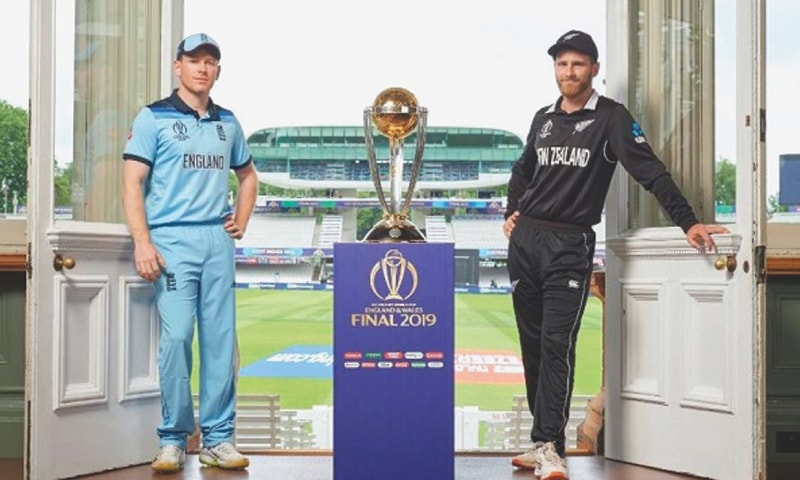 England captain Eoin Morgan and his counterpart Kane Williamson, photographed with Champions Trophy in the Long Room at Lord's