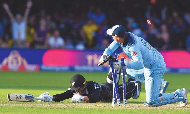 Jos Buttler runs out Martin Guptill to win the super-over. England won the World Cup for the first time