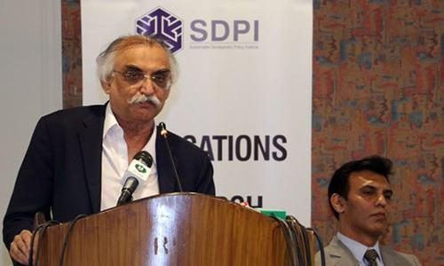 FBR Chairman Shabbar Zaidi addressing a symposium in Islamabad on Friday, July 19. — Photo provided by author