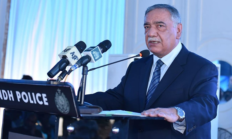 Chief Justice Asif Saeed Khosa addressing a ceremony at the CCPO, Karachi on Friday. — Photo courtesy of Imtiaz Ali