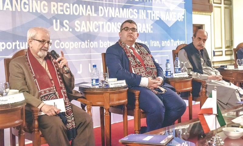 IRANIAN scholar Dr Seyed Kazem Sajjadpour speaks at the event.—White Star